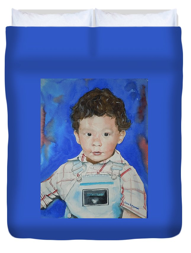 Boy Duvet Cover featuring the painting Jamal by Jean Blackmer