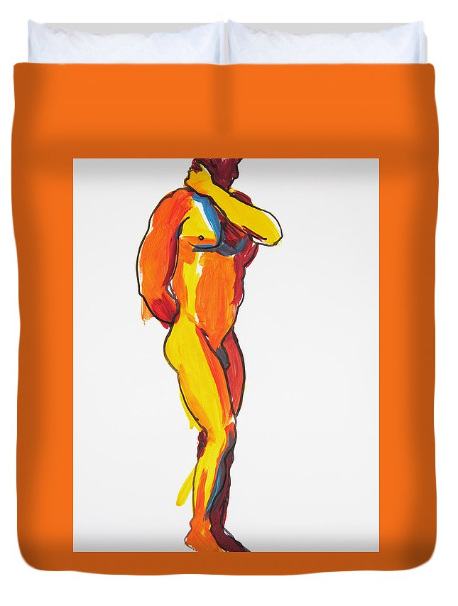 Male Duvet Cover featuring the painting James Classic Pose by Shungaboy X