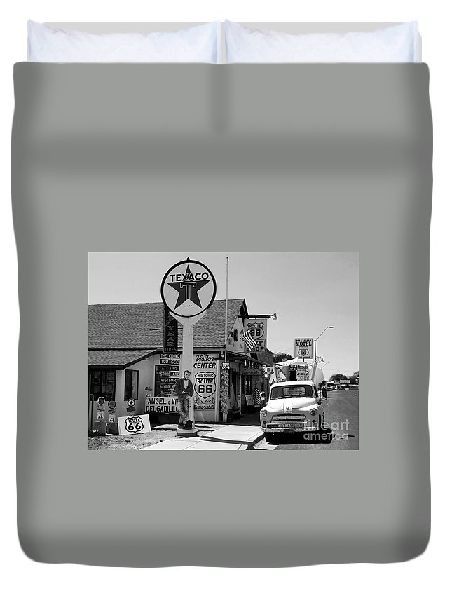 James Dean Duvet Cover featuring the photograph James Dean On Route 66 by David Lee Thompson