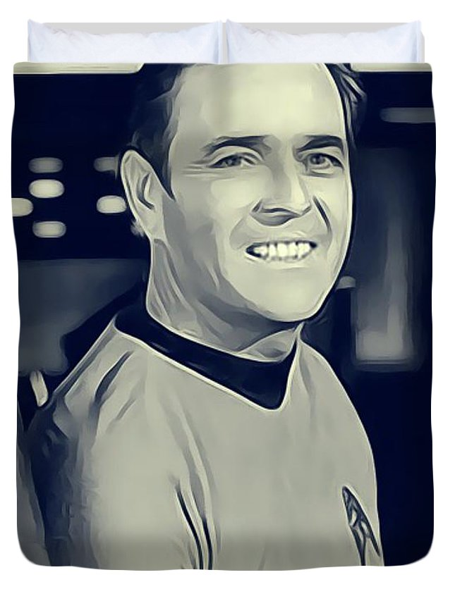 James Duvet Cover featuring the digital art James Doohan, Scotty by John Springfield