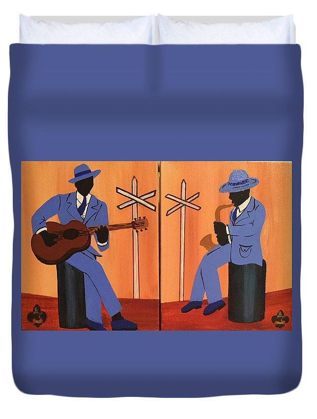 Musical Duvet Cover featuring the painting Jammin At The Crossroads by Gilda Thomas