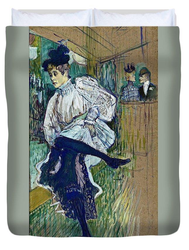 Dancer Duvet Cover featuring the painting Jane Avril Dancing Circa 1892 by Henri De Toulouse Lautrec