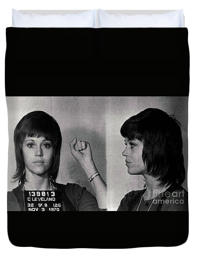 Mugshot Duvet Cover featuring the photograph Jane Fonda - Doc Braham - All Rights Reserved by Doc Braham