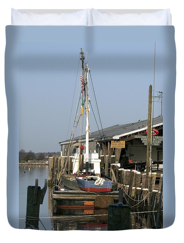 Boat Duvet Cover featuring the photograph Janet by Steven Natanson
