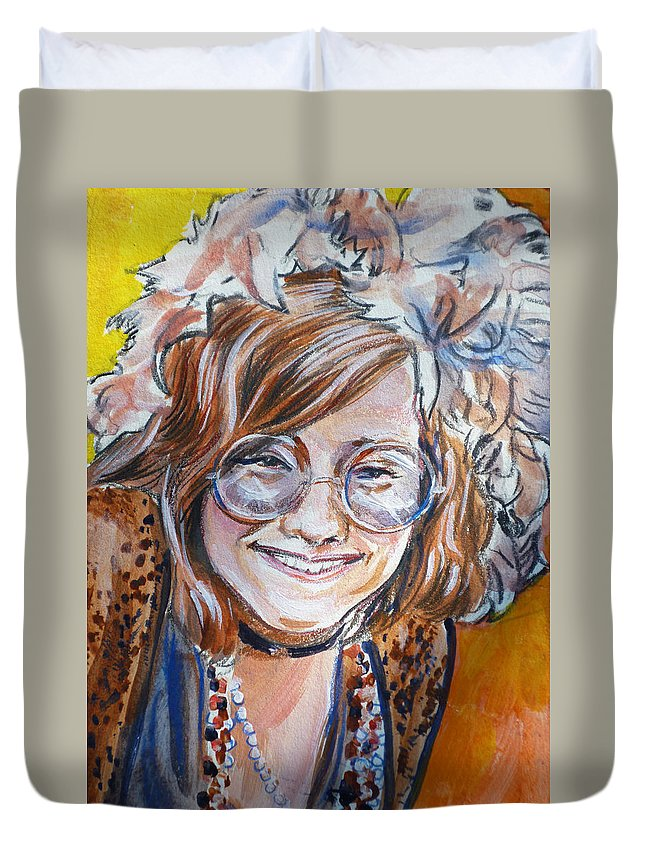 Janis Joplin Duvet Cover featuring the painting Janis Joplin by Bryan Bustard