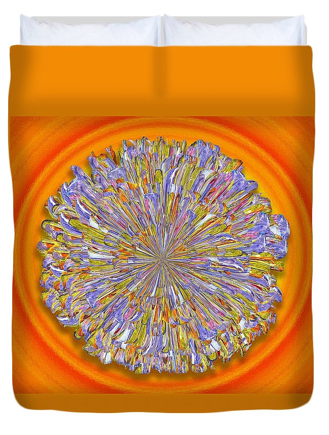 Digital Duvet Cover featuring the digital art Jannell -- Floral Disk by Mark Sellers