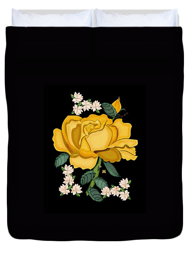 Golden Rose Duvet Cover featuring the painting January 2011 Rose in Gold by Anne Norskog