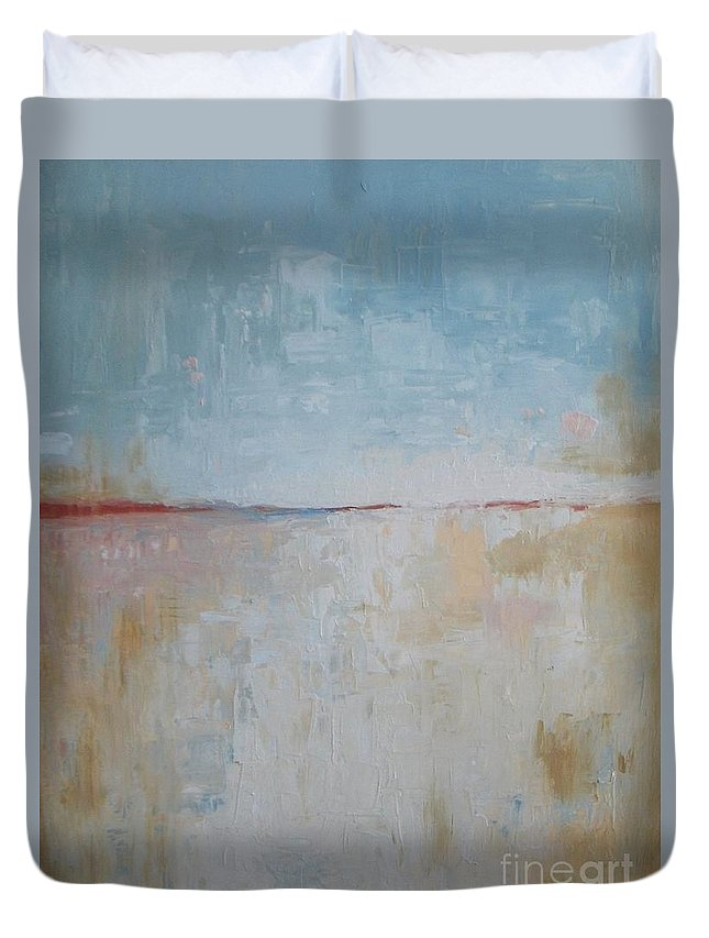 Winter Landscape Duvet Cover featuring the painting January Beach by Vesna Antic