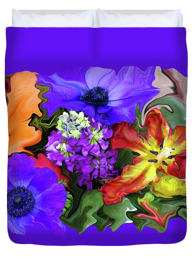 Abstract Duvet Cover featuring the photograph January Bouquet by Kathy Moll