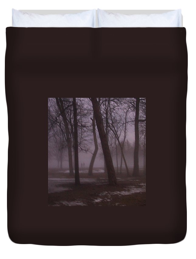 January Duvet Cover featuring the photograph January Fog 1 by Anita Burgermeister