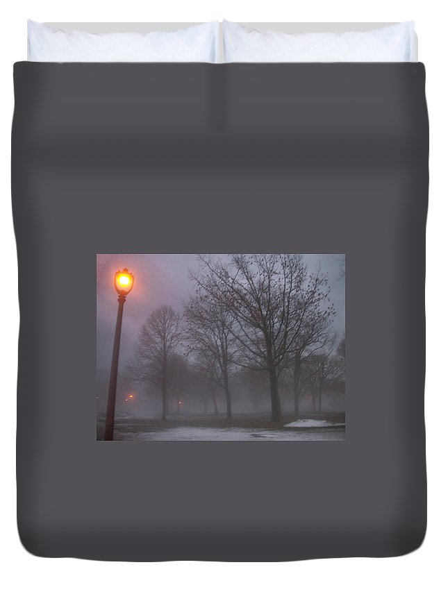 January Duvet Cover featuring the photograph January Fog 3 by Anita Burgermeister