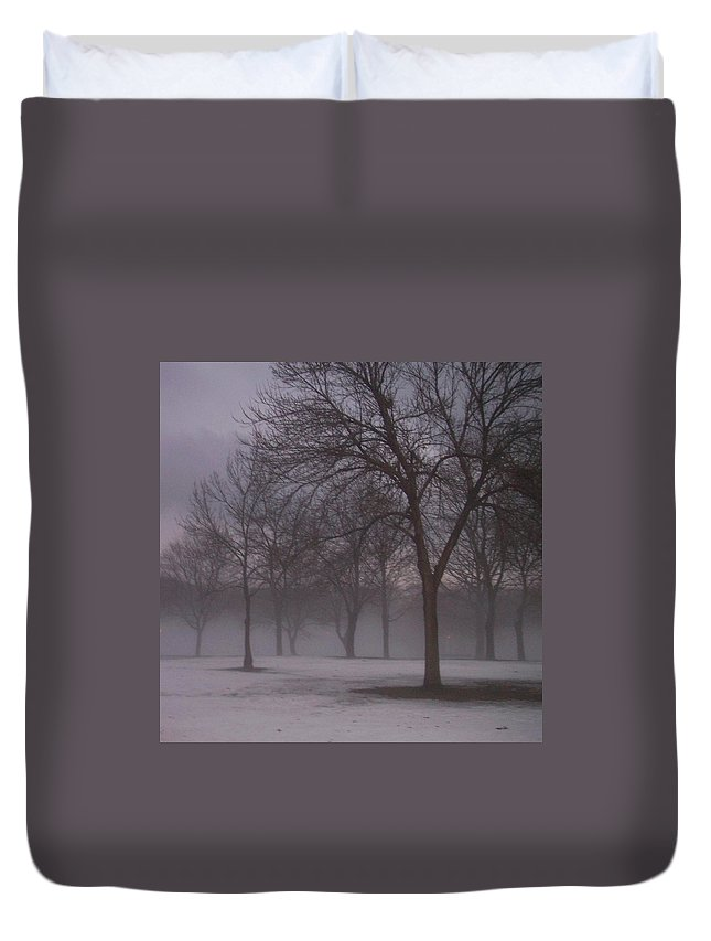 January Duvet Cover featuring the photograph January Fog 4 by Anita Burgermeister