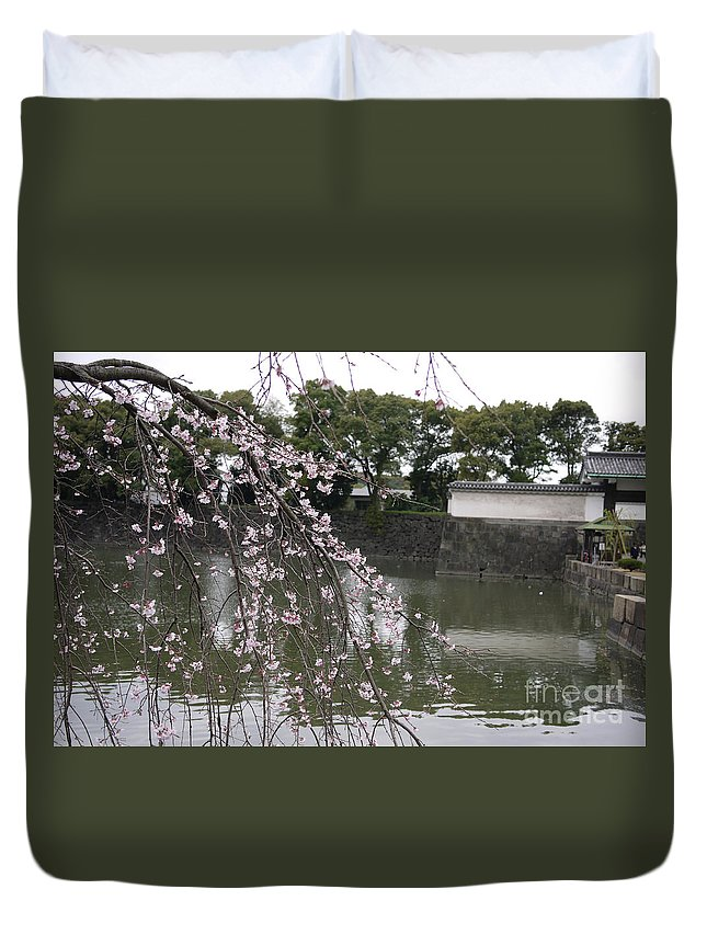 Tokyo Duvet Cover featuring the photograph Japan Cherry Tree Blossom by Cream Cake
