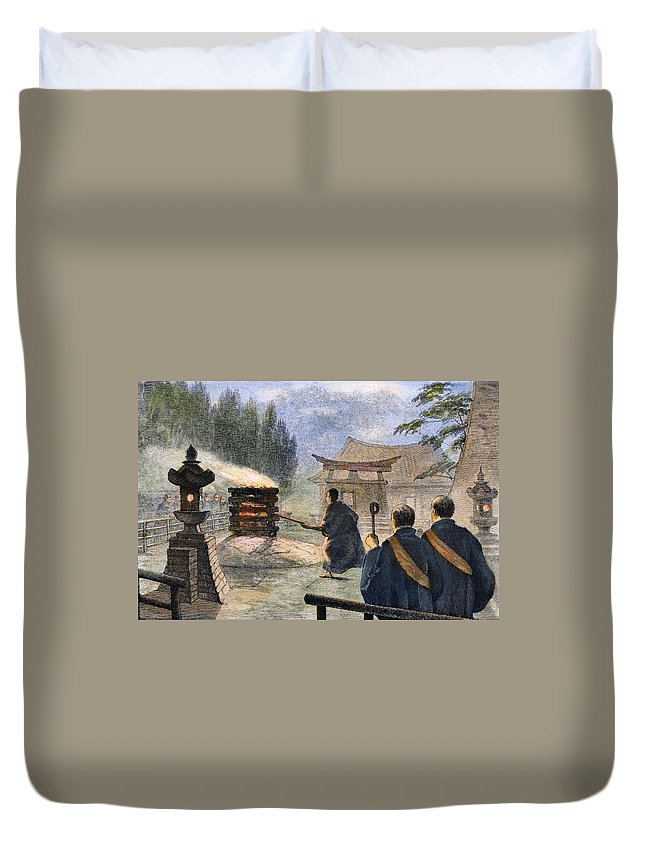 1890 Duvet Cover featuring the photograph Japan: Cremation, 1890 by Granger