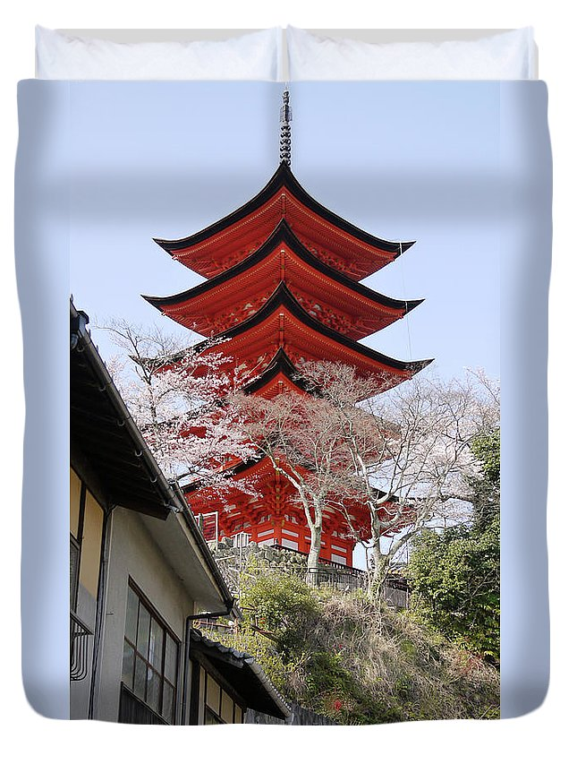 Japan Duvet Cover featuring the photograph Japan Itsukushima Temple by Moshe Torgovitsky