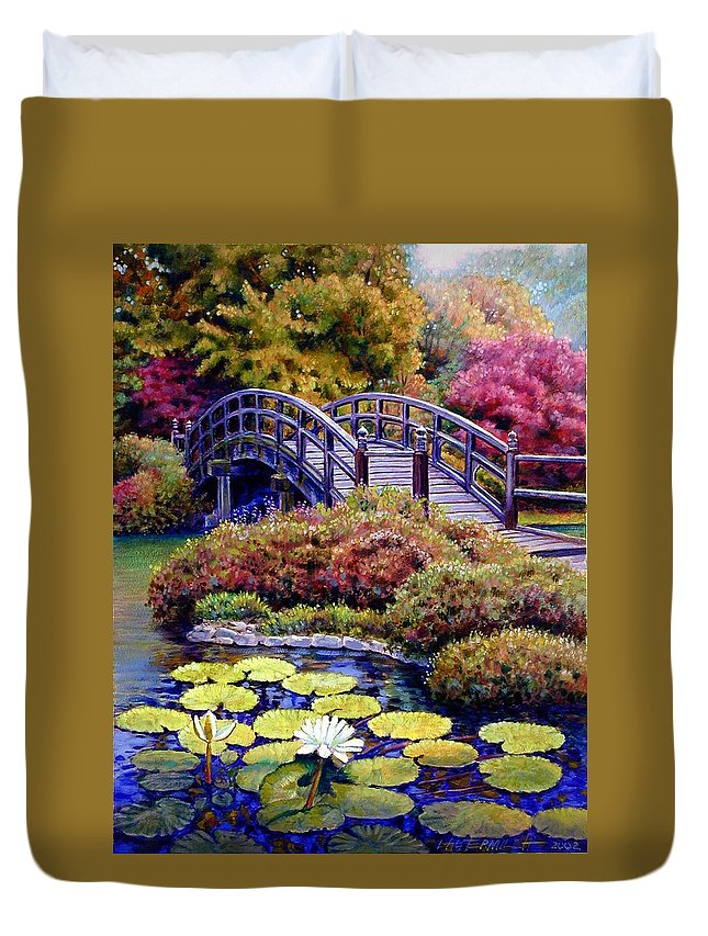 Japanese Bridge Duvet Cover featuring the painting Japanese Bridge by John Lautermilch