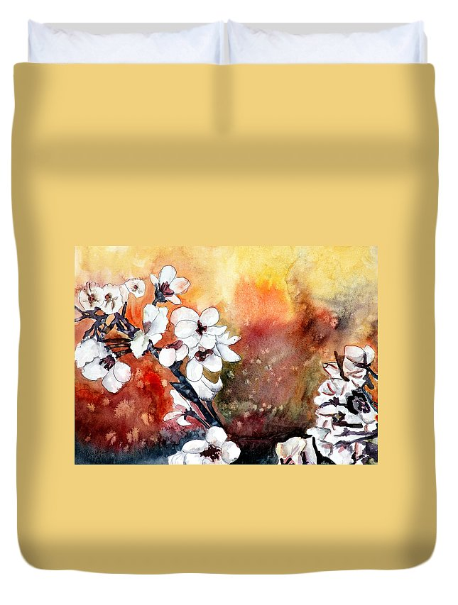 Watercolor Duvet Cover featuring the painting Japanese Cherry Blossom Abstract Flowers by Derek Mccrea