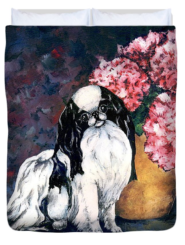 Japanese Chin Duvet Cover featuring the painting Japanese Chin And Hydrangeas by Kathleen Sepulveda