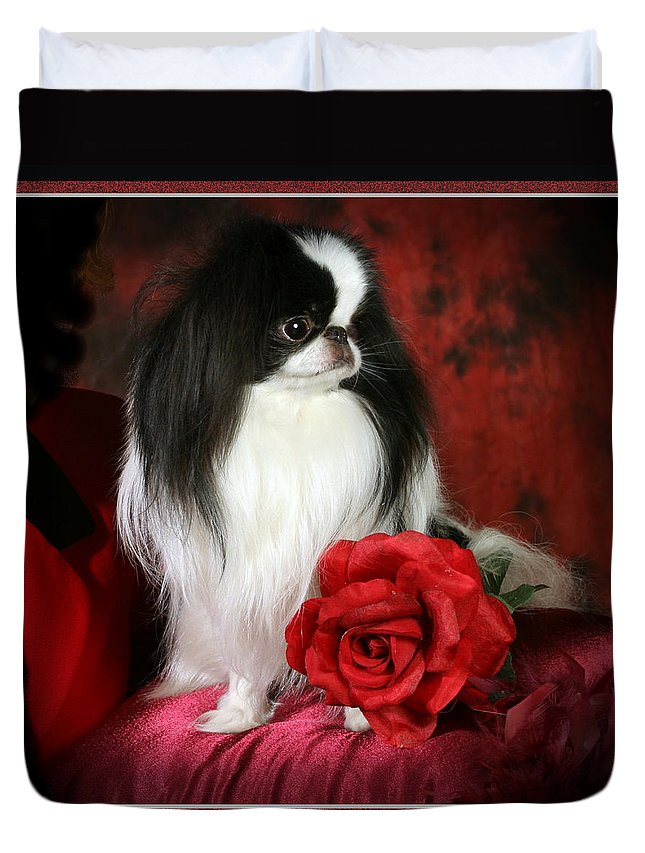 Japanese Chin Duvet Cover featuring the pyrography Japanese Chin and Rose by Kathleen Sepulveda