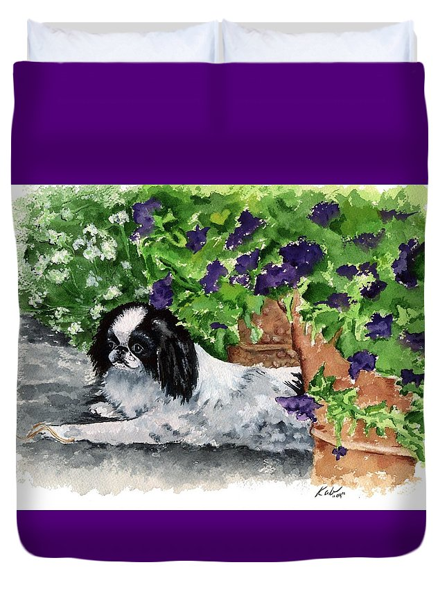 Japanese Chin Duvet Cover featuring the painting Japanese Chin Puppy And Petunias by Kathleen Sepulveda