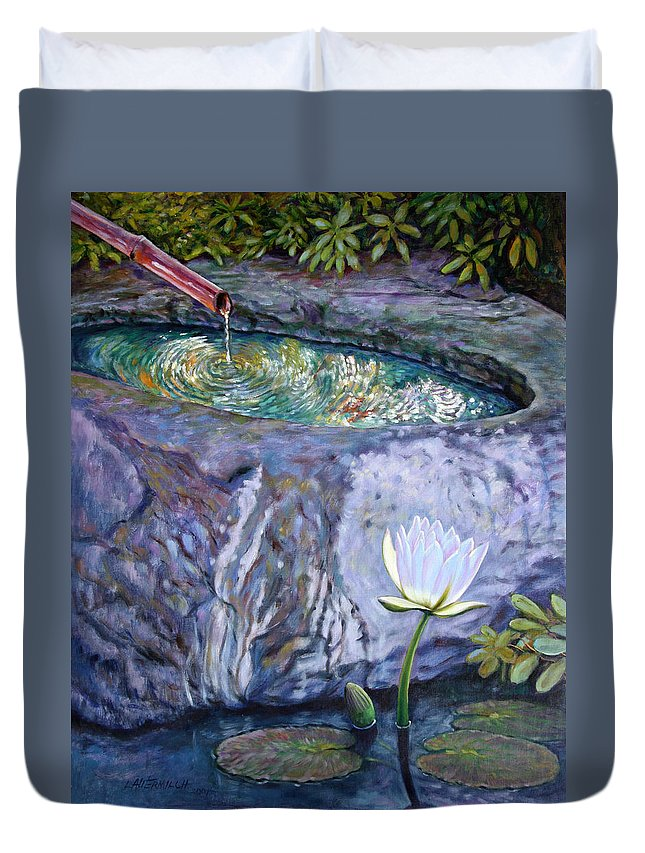 Garden Duvet Cover featuring the painting Japanese Fountain With Lily by John Lautermilch
