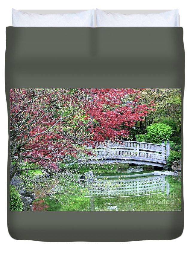 Landscape Duvet Cover featuring the photograph Japanese Garden Bridge In Springtime by Carol Groenen