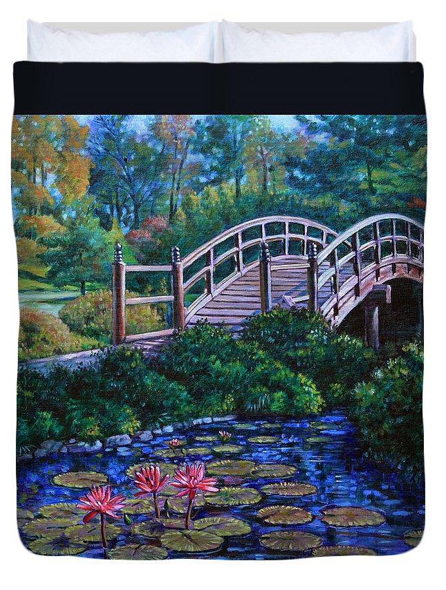Japanese Bridge Duvet Cover featuring the painting Japanese Garden Bridge by John Lautermilch