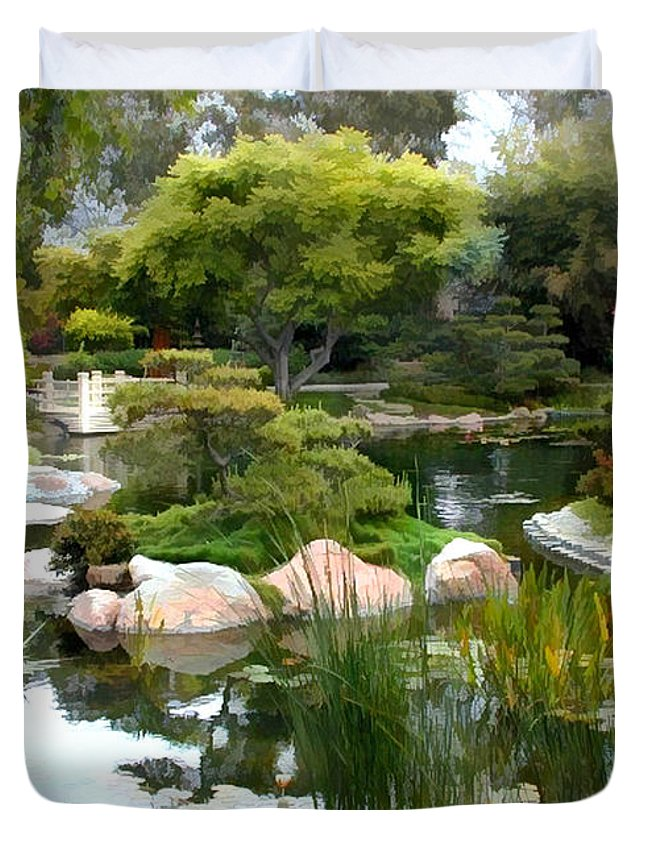 Japanese Garden Duvet Cover featuring the painting Japanese Garden Panorama 2 by Elaine Plesser
