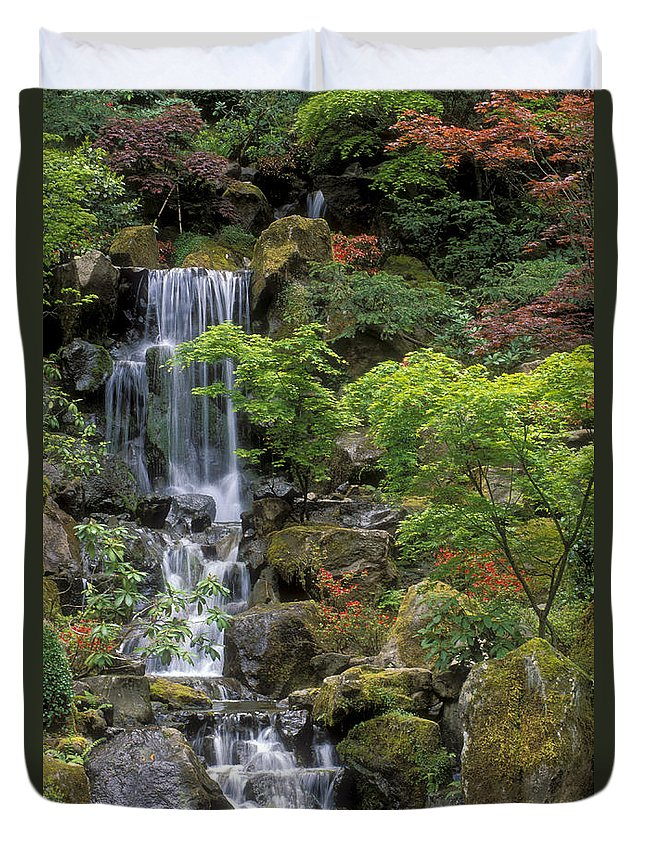 Waterfall Duvet Cover featuring the photograph Japanese Garden Waterfall by Sandra Bronstein