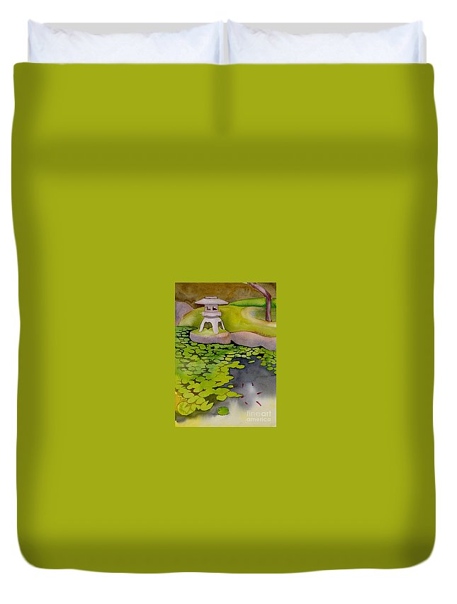 Japanese Duvet Cover featuring the painting Japanese Garden by Yolanda Koh