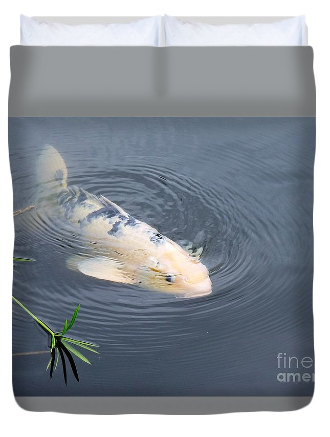 Japanese Duvet Cover featuring the photograph Japanese Koi Fish by Beth Williams