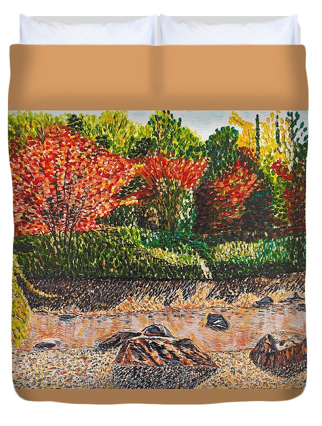 Landscape Duvet Cover featuring the painting Japanese Maple Trees At The Creek by Valerie Ornstein