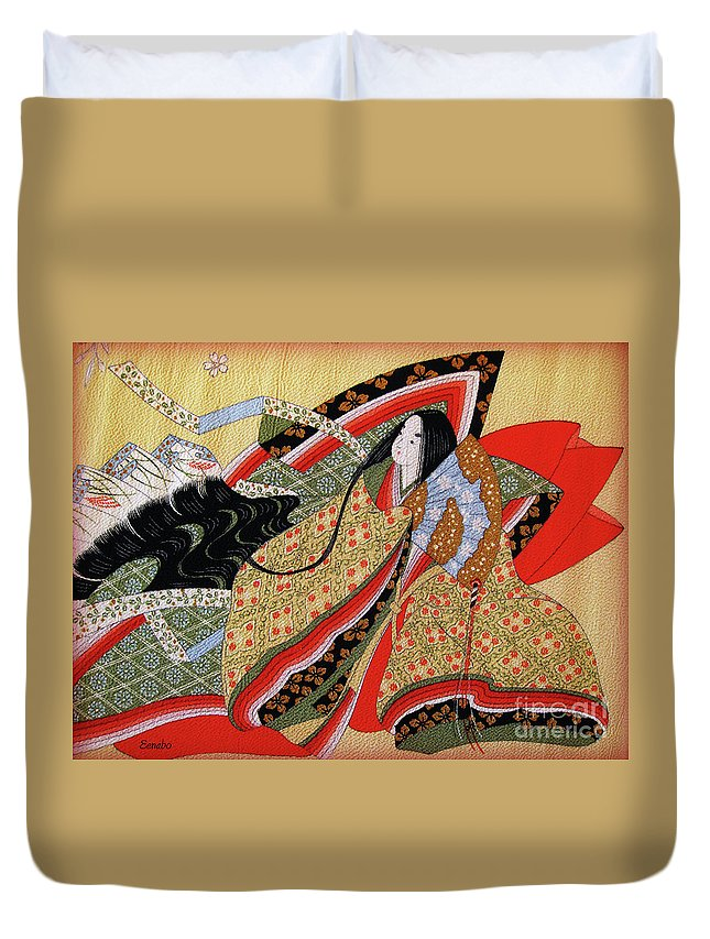 Japanese Art Duvet Cover featuring the photograph Japanese Textile Art by Eena Bo