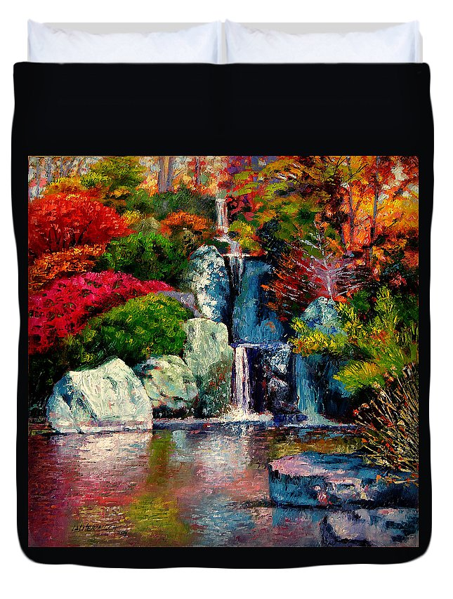 Japanese Garden Duvet Cover featuring the painting Japanese Waterfall by John Lautermilch