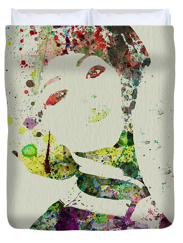 Kimono Duvet Cover featuring the painting Japanese Woman by Naxart Studio