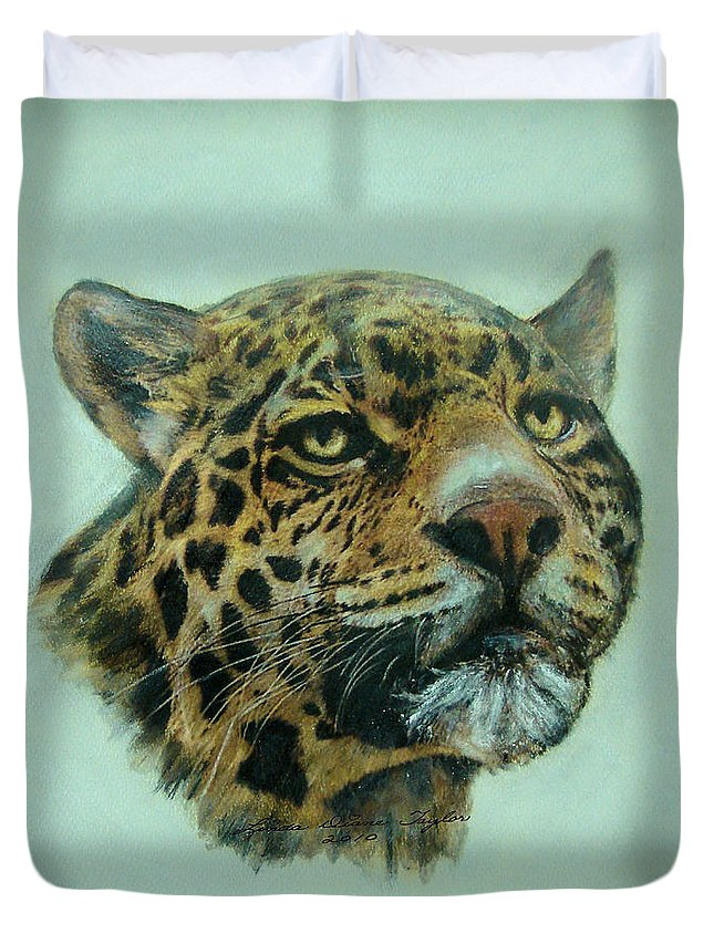 Jaquar Duvet Cover featuring the painting Jaquar by Linda Diane Taylor