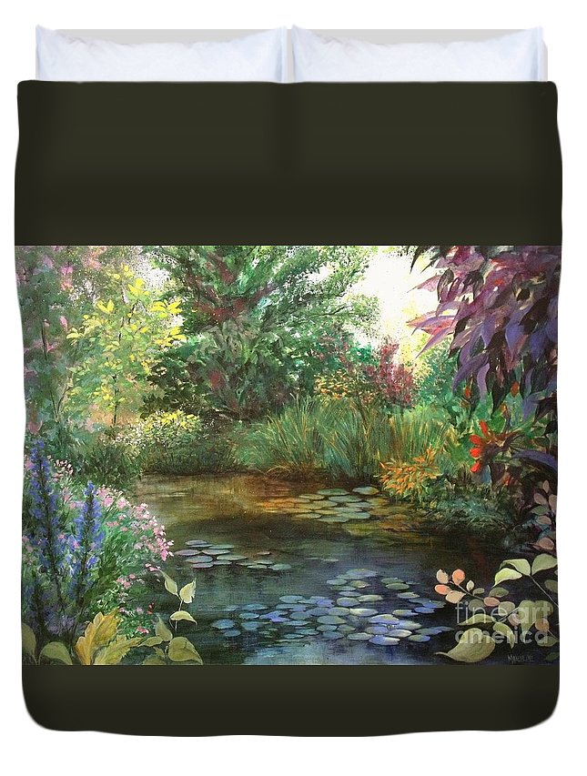 Canvas Print Landscape Duvet Cover featuring the painting Jardin Giverny by Madeleine Holzberg