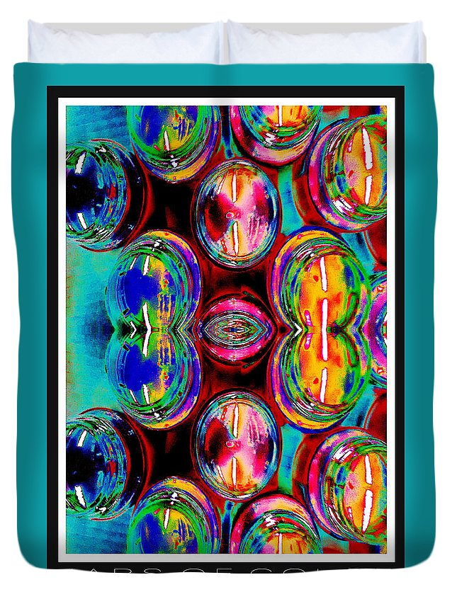 Poster Art Duvet Cover featuring the photograph Jars Of Color by Lauren Hatfield