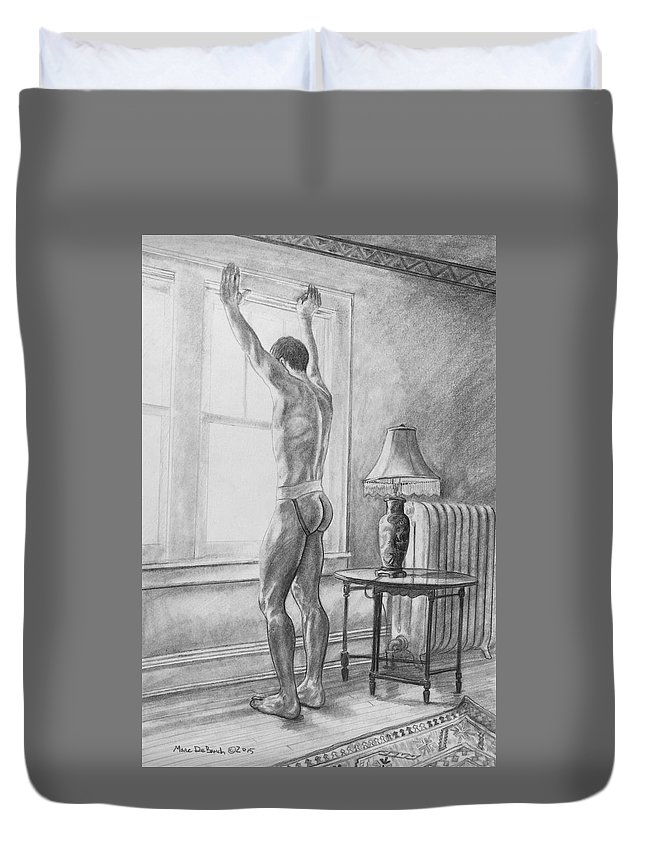 Male Nude Duvet Cover featuring the painting Jason At The Window by Marc DeBauch