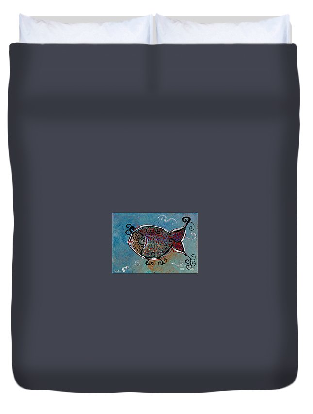 Fish Duvet Cover featuring the painting Jason by Mrs Wilkes Art