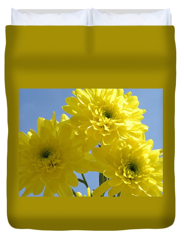 Nature Duvet Cover featuring the photograph Yellow Trio by Shannon Turek