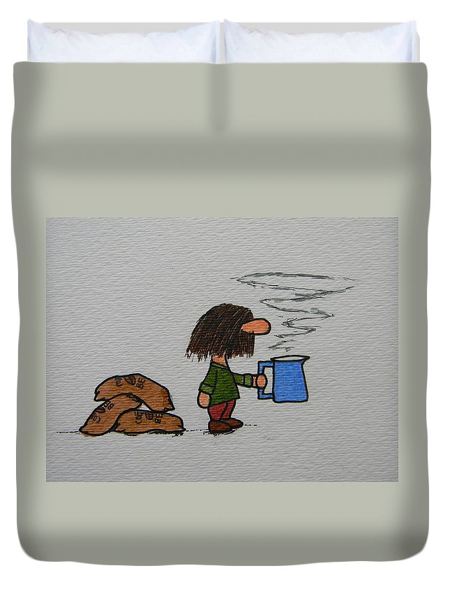 Coffee Duvet Cover featuring the drawing Java by Marwan George Khoury