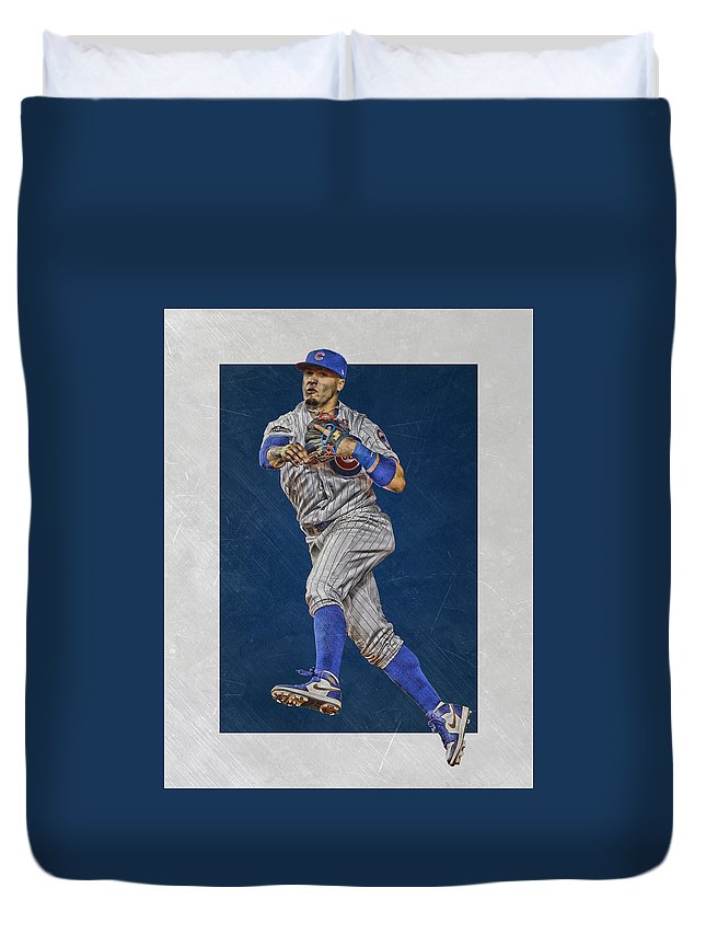 Javier Baez Duvet Cover featuring the mixed media Javier Baez Chicago Cubs Art by Joe Hamilton