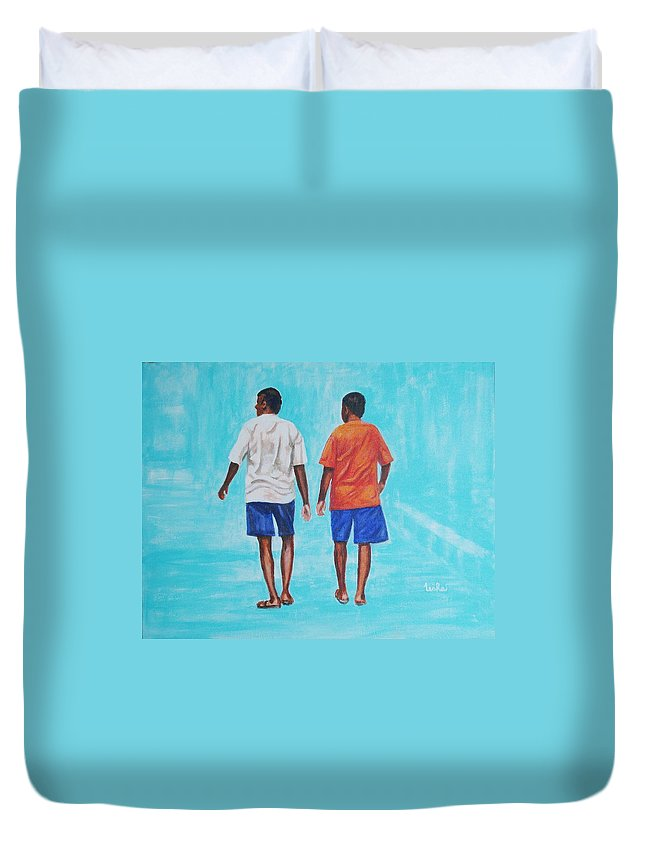 Duvet Cover featuring the painting Jay Walkers by Usha Shantharam