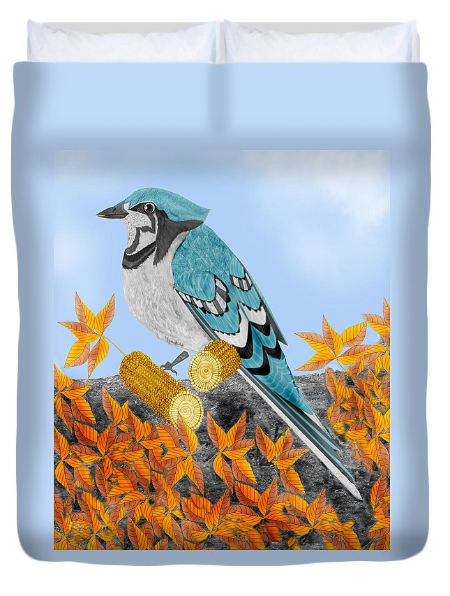 Jay Bird Duvet Cover featuring the painting Jay With Corn And Leaves by Anne Norskog