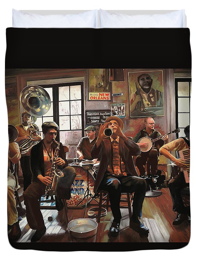 Jazz Duvet Cover featuring the painting Jazz A 7 by Guido Borelli