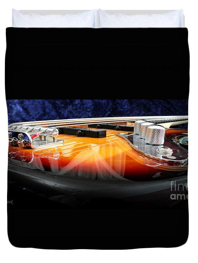Still Life Duvet Cover featuring the photograph Jazz Bass Beauty by Todd Blanchard