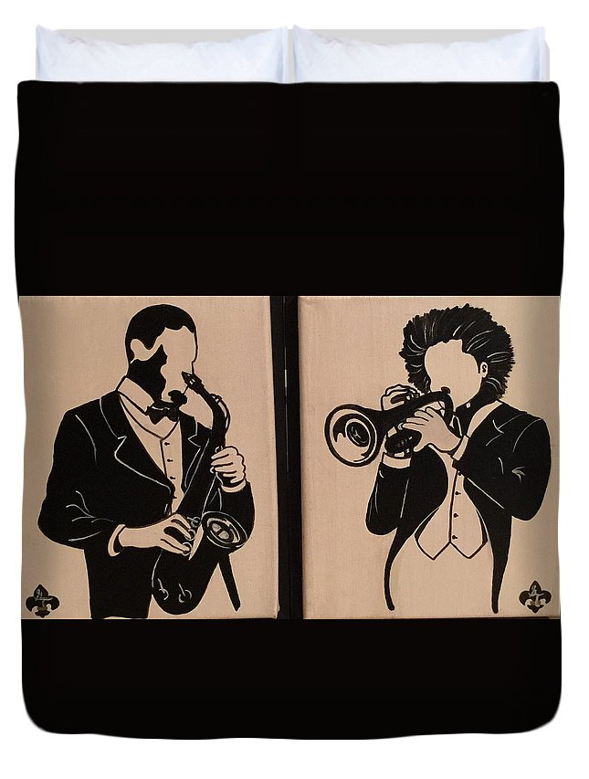 Musical Duvet Cover featuring the painting Jazz Jammin Brothers by Gilda Thomas