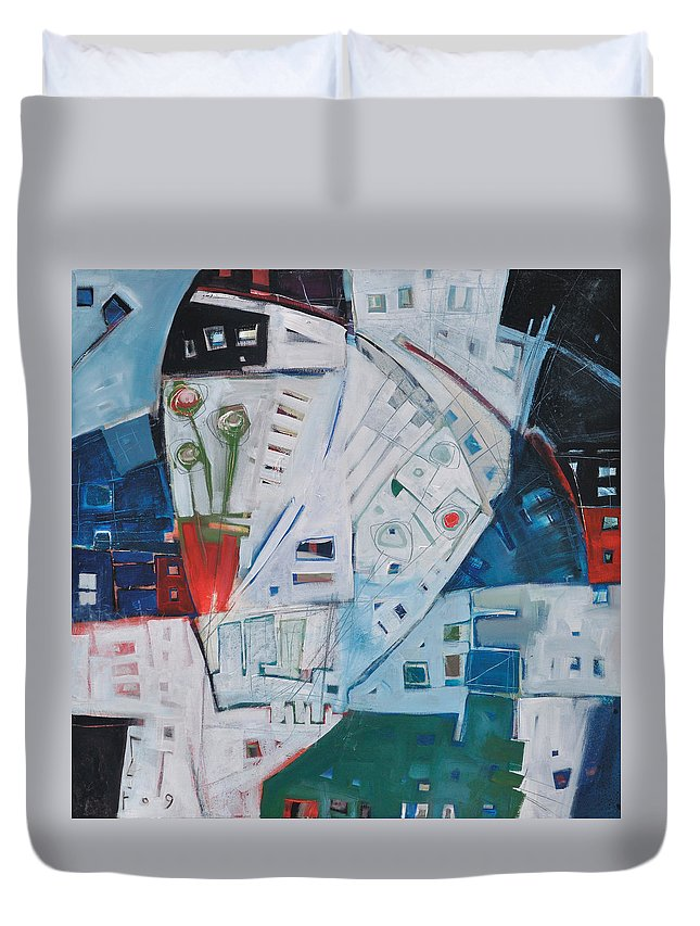 Jazz Duvet Cover featuring the painting Jazz In Bloom by Tim Nyberg