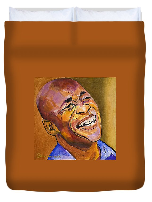 Portraits Duvet Cover featuring the painting Jazz Man by Pat Saunders-White